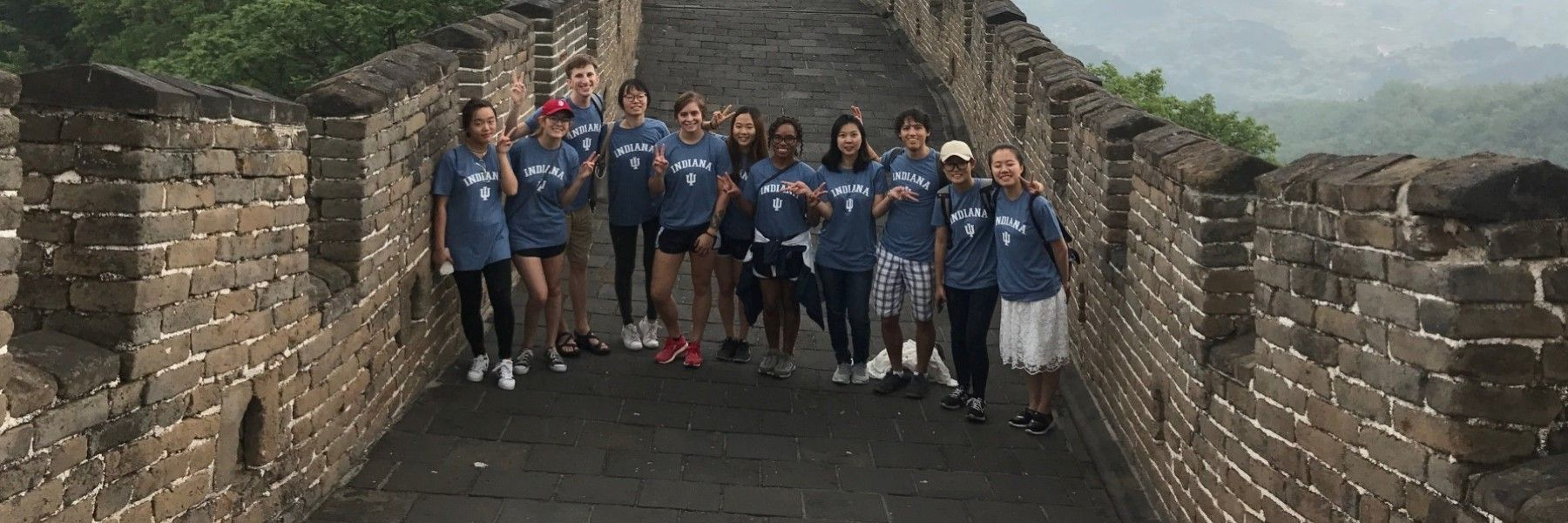 Lucas Adams joins classmates in visiting the Great Wall of China.