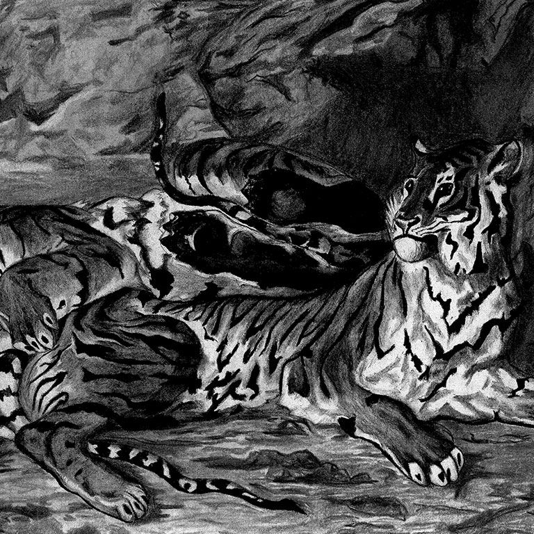 Tiger painted in black and white.